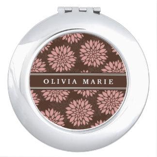 Brown Name Blush Pink Flower Blossom Pattern Travel Mirror