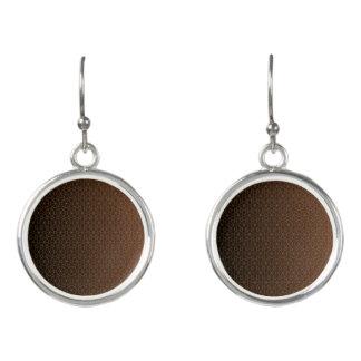Brown Netting Circle Drop Earrings