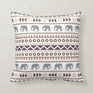 Brown Neutrals Tribal Elephant Cushion