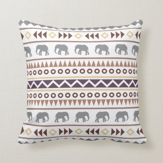 Brown Neutrals Tribal Elephant Throw Pillow