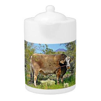 Brown New River Cow Tea Pot