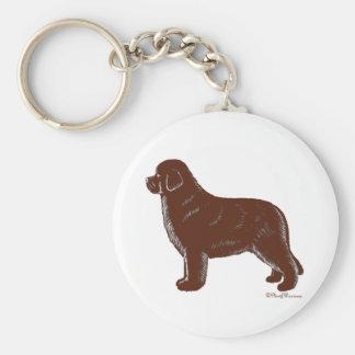 Brown Newfoundland Dog Key Ring