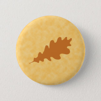 Brown Oak Leaf Design. 6 Cm Round Badge