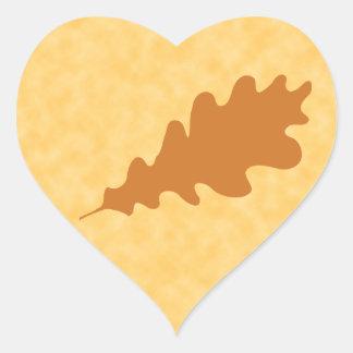 Brown Oak Leaf Design. Heart Sticker
