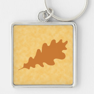Brown Oak Leaf Design. Silver-Colored Square Key Ring