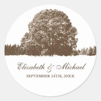 Brown Oak Tree Fall Wedding Favor Label