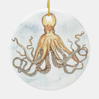 Brown Octopus Circle Ornament