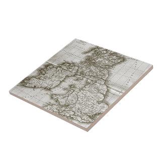 Brown Old World Antique Map Tile and Trivet