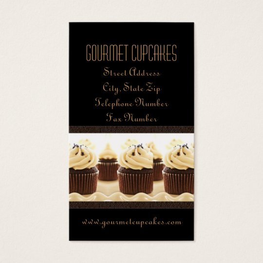 Brown on Black Cupcake Business Cards