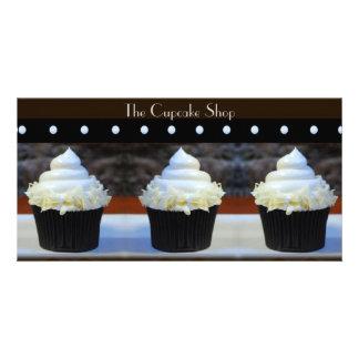 Brown on Black Cupcakes Photo Card