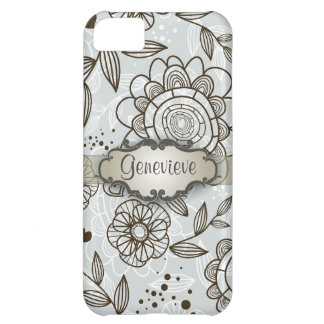 Brown on Blue Floral with Nameplate iPhone 5C Covers