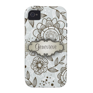 Brown on Blue Floral with Nameplate iPhone 4 Cover