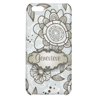 Brown on Blue Floral with Nameplate Case For iPhone 5C