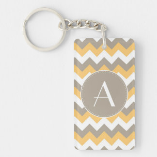 Brown, Orange and White Chevron Pattern Key Ring