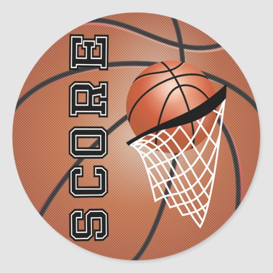 Brown Orange Basketball Classic Round Sticker