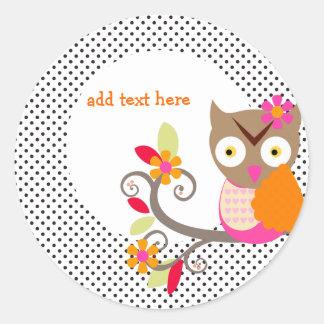 Brown+Orange+Hot Pink Owl stickers