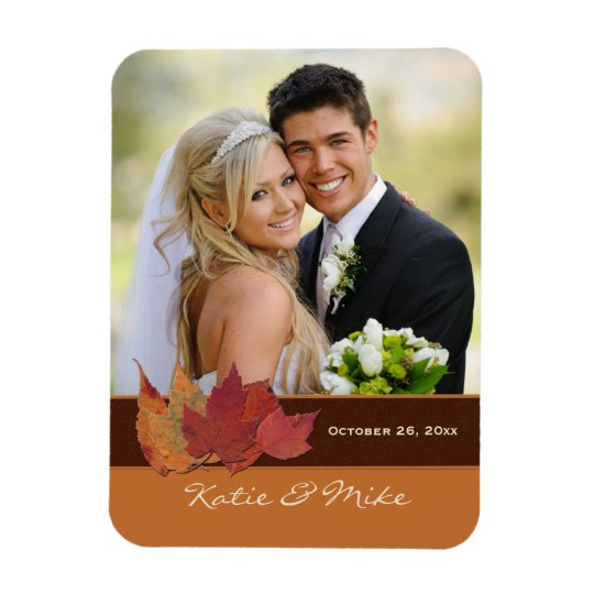 Brown Orange Ivory Dried Leaves Photo Magnet
