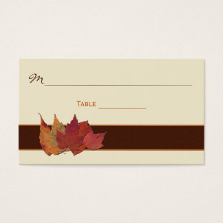 Brown, Orange, Ivory Dried Leaves Place Cards