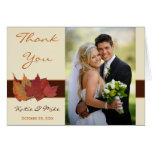 Brown Orange Ivory Dried Leaves Thank You Card