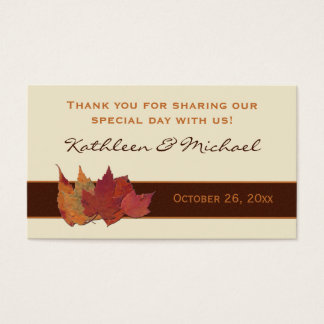 Brown Orange Ivory Dried Leaves Wedding Favor Tag Business Card