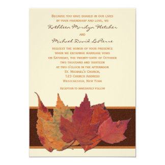 Brown Orange Ivory Dried Leaves Wedding Invitation