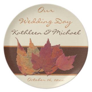Brown Orange Ivory Dried Leaves Wedding Keepsake Dinner Plates