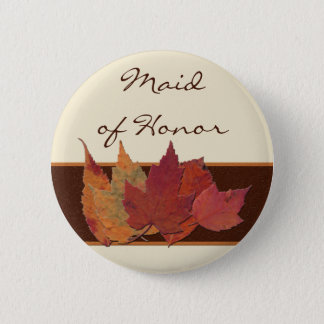 Brown Orange Ivory Dried Leaves Wedding Party Pin
