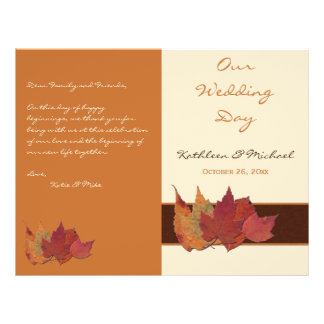 Brown Orange Ivory Dried Leaves Wedding Program 21.5 Cm X 28 Cm Flyer
