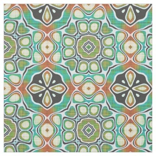 Brown Orange Lime Green Hip Ornate Art Motif