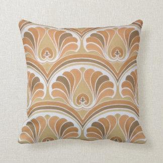 Brown Orange Vintage Floral Wallpaper Cushion