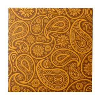 Brown & Orange Vintage Paisley Damask Pattern Small Square Tile