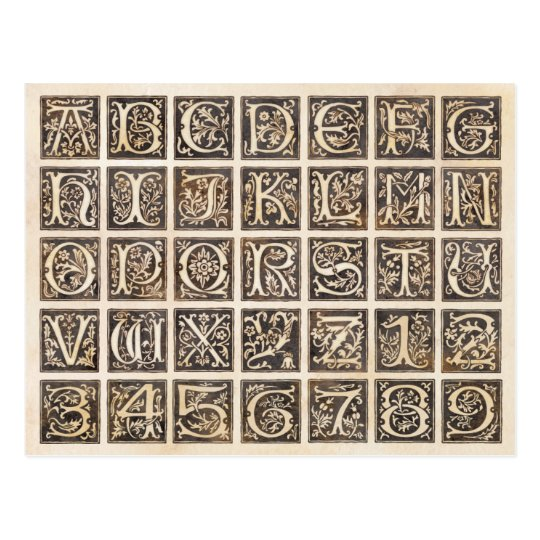Brown Ornamental Alphabet and Numbers Postcard
