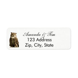 Brown owl bird on white return address return address label