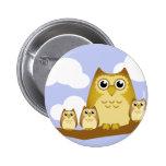 Brown Owl Family - 3 kids 6 Cm Round Badge