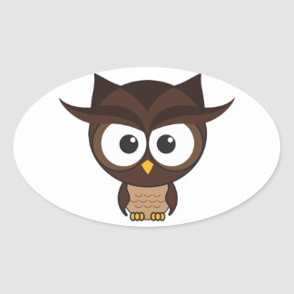 Brown Owl Oval Sticker