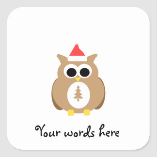 Brown owl santa square sticker