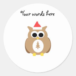 Brown owl santa round sticker