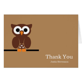 Brown Owl Thank You Greeting Card