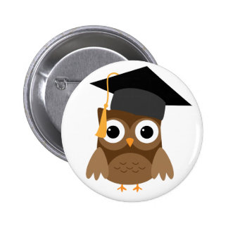 Brown Owl with Cap Graduation Button