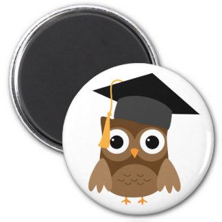 Brown Owl with Cap Graduation Magnet