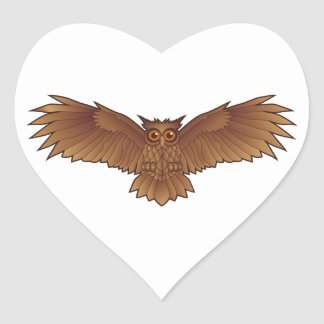 Brown Owl with Outstretched Wings Heart Stickers