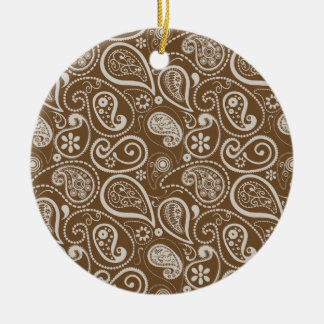 Brown Paisley; Floral Double-Sided Ceramic Round Christmas Ornament