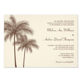 Brown Palm Tree Tropical Wedding Invitations