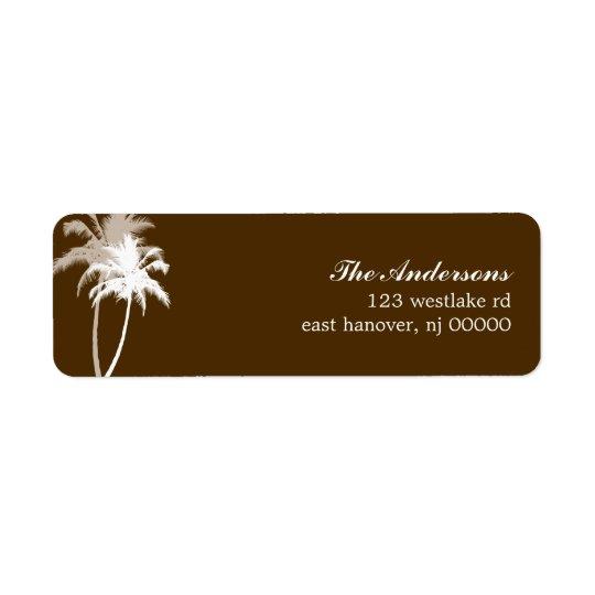 Brown Palm Trees Tropical Beach Wedding Return Address Label