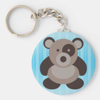 Brown Panda Bear Basic Round Button Key Ring