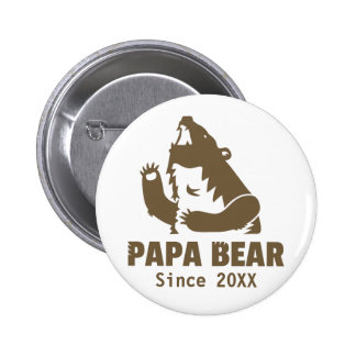 Brown Papa Bear Since Year of Fatherhood For Dad 6 Cm Round Badge