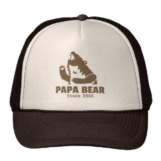 Brown Papa Bear Since Year of Fatherhood For Dad Trucker Hat