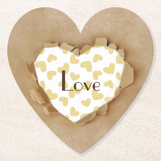 Brown Paper Bag Rustic Heart Wedding Party Paper Coaster