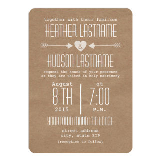 Brown Paper Inspired Arrows + Heart Rustic White 13 Cm X 18 Cm Invitation Card