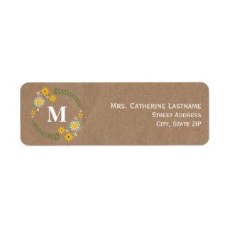 Brown Paper Inspired Wildflower Wreath Monogram